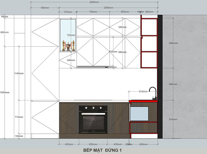 Bản vẽ mặt đứng thiết kế tủ bếp – hình 17