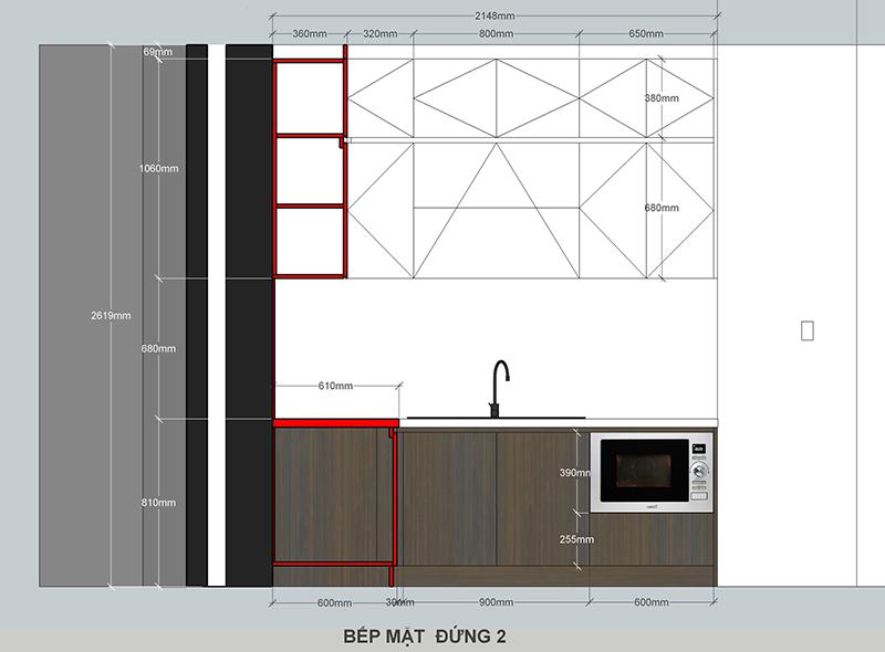 Bản vẽ mặt đứng thiết kế tủ bếp – hình 18