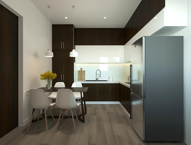 Bản vẽ 3D thiết kế bếp kết nối phòng ăn tiện lợi - hình 19