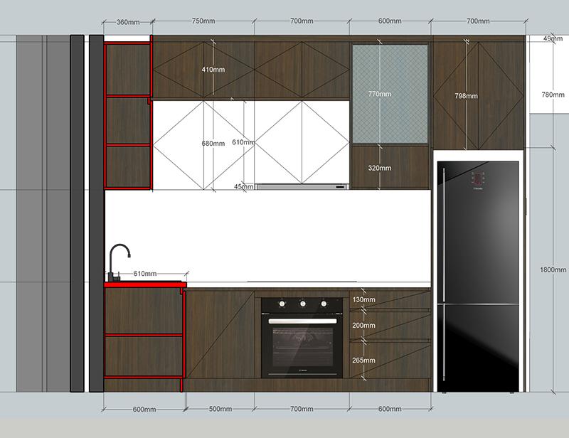Bản vẽ mặt đứng thiết kế bếp tổng thể - hình 24