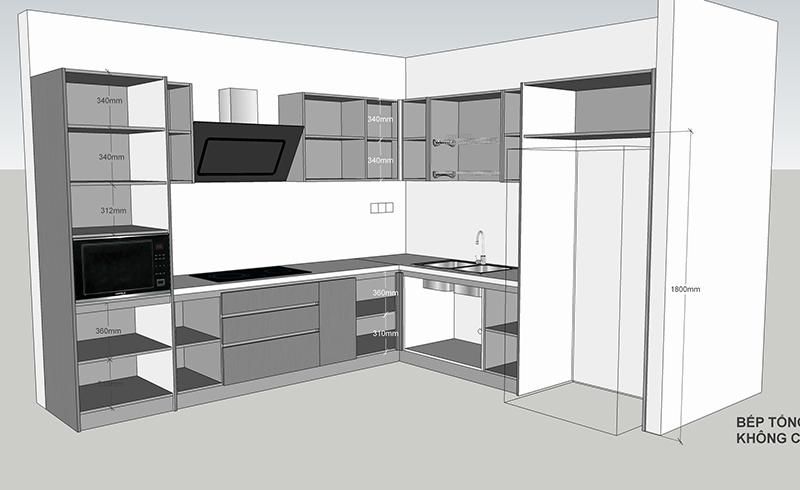 Bản vẽ chi tiết bên trong thiết kế tủ bếp tổng thể - hình 28