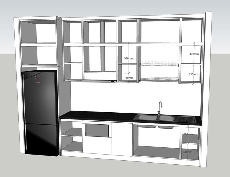 Bản vẽ chi tiết bên trong thiết kế bếp tổng thể - hình 03