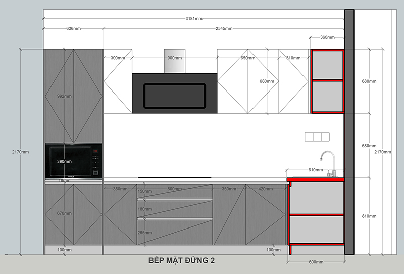 Bản vẽ mặt đứng thiết kế tủ bếp gỗ - hình 31