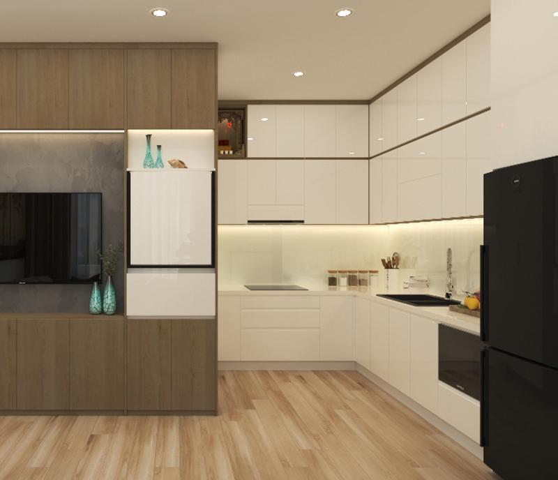 Bản vẽ 3D thiết kế tủ bếp truyền thống có bàn thờ - hình 05