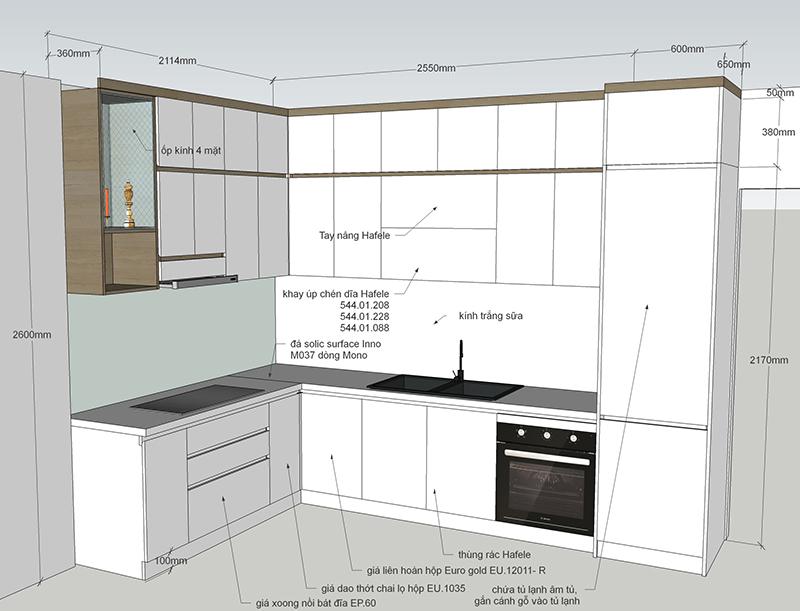 Bản vẽ thiết kế tủ bếp có bàn thờ tổng thể - hình 06