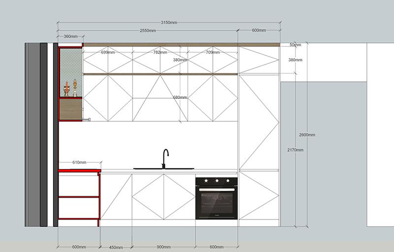 Bản vẽ mặt đứng tủ bếp tổng thể - hình 09