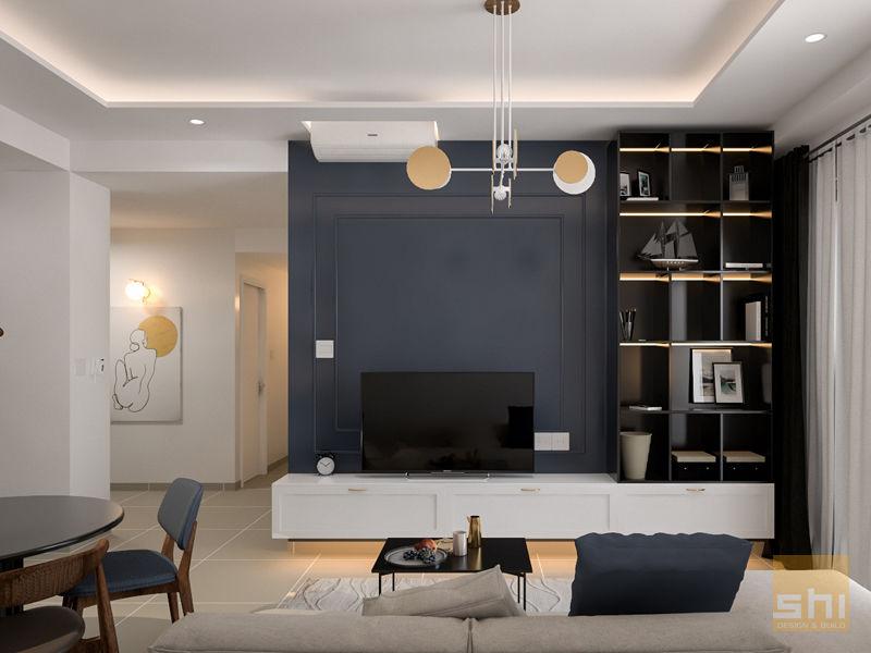 Hình ảnh render phòng khách được thiết kế bởi Sense Home - 1