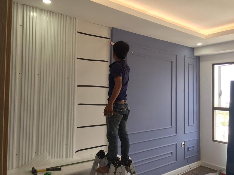 Hình ảnh quá trình thi công kệ Tivi cho căn hộ The Sun Avenue