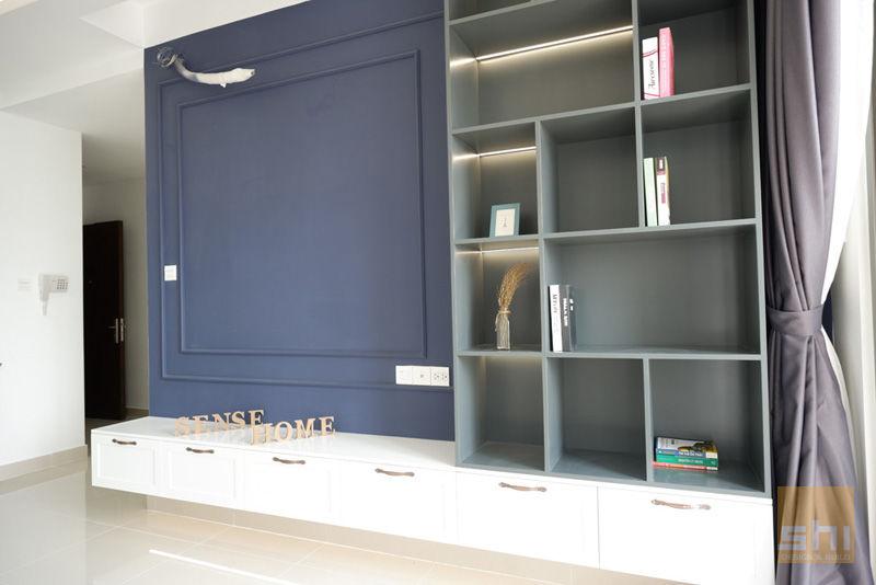 Hình ảnh hoàn thiện thiết kế nội thất phòng khách căn hộ The Sun Avenue