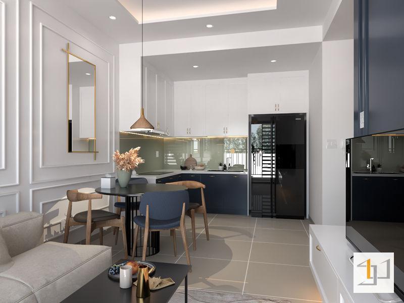 Hình ảnh render không gian phòng ăn được thiết kế bởi Sense Home