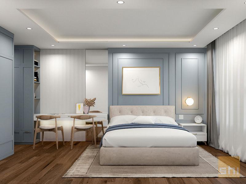 Hình ảnh render giường ngủ phòng Master do Sense Home thiết kế