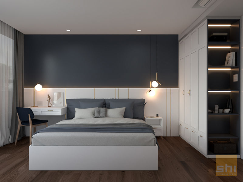 Hình ảnh render tổng thể phòng ngủ 2 do Sense Home thiết kế