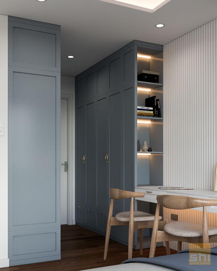 Hình ảnh render bàn làm việc và tủ quần áo phòng Master do Sense Home thiết kế