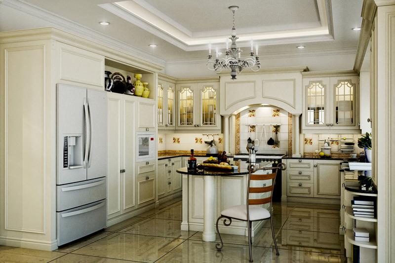 Tủ bếp cổ điển đẹp - Mẫu 02