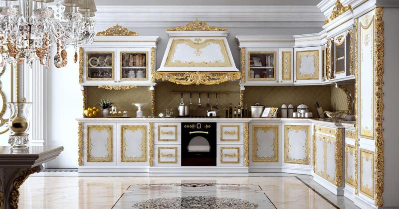 Tủ bếp cổ điển đẹp - Mẫu 07