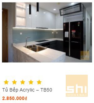 tủ bếp đẹp chữ u mặt đá vicostone