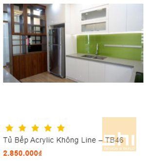 tủ bếp acrylic đẹp cho căn hộ