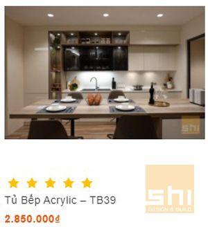 mẫu tủ bếp đẹp phủ acrylic bóng gương