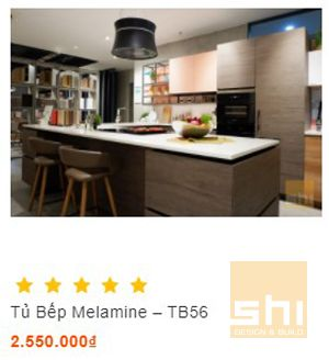 mẫu tủ bếp đẹp kiểu chữ u phủ melamine