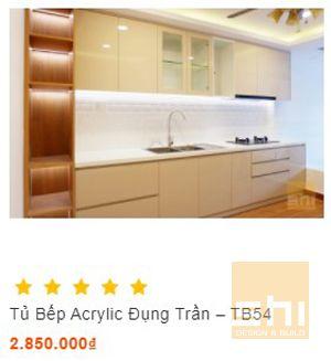 tủ bếp acrylic kiểu chữ i cho nhà nhỏ