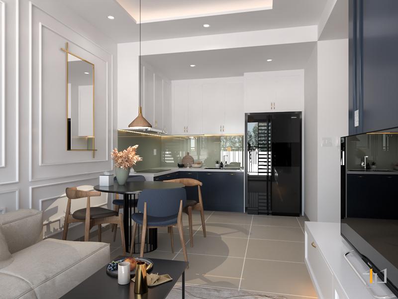 Thiết kế mở kết nối phòng khách và phòng ăn