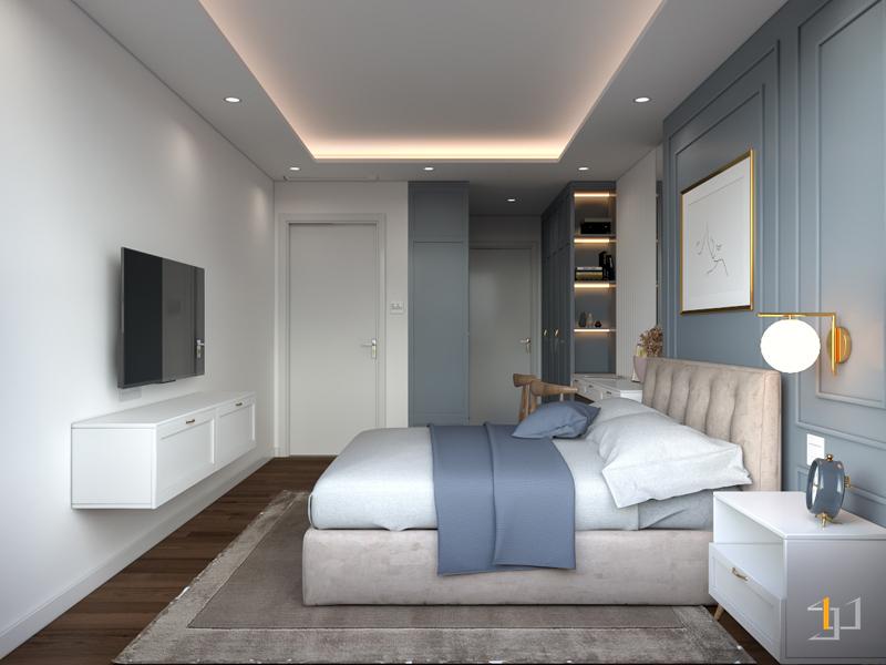 Thiết kế nội thất phòng ngủ Master tông màu trung tính