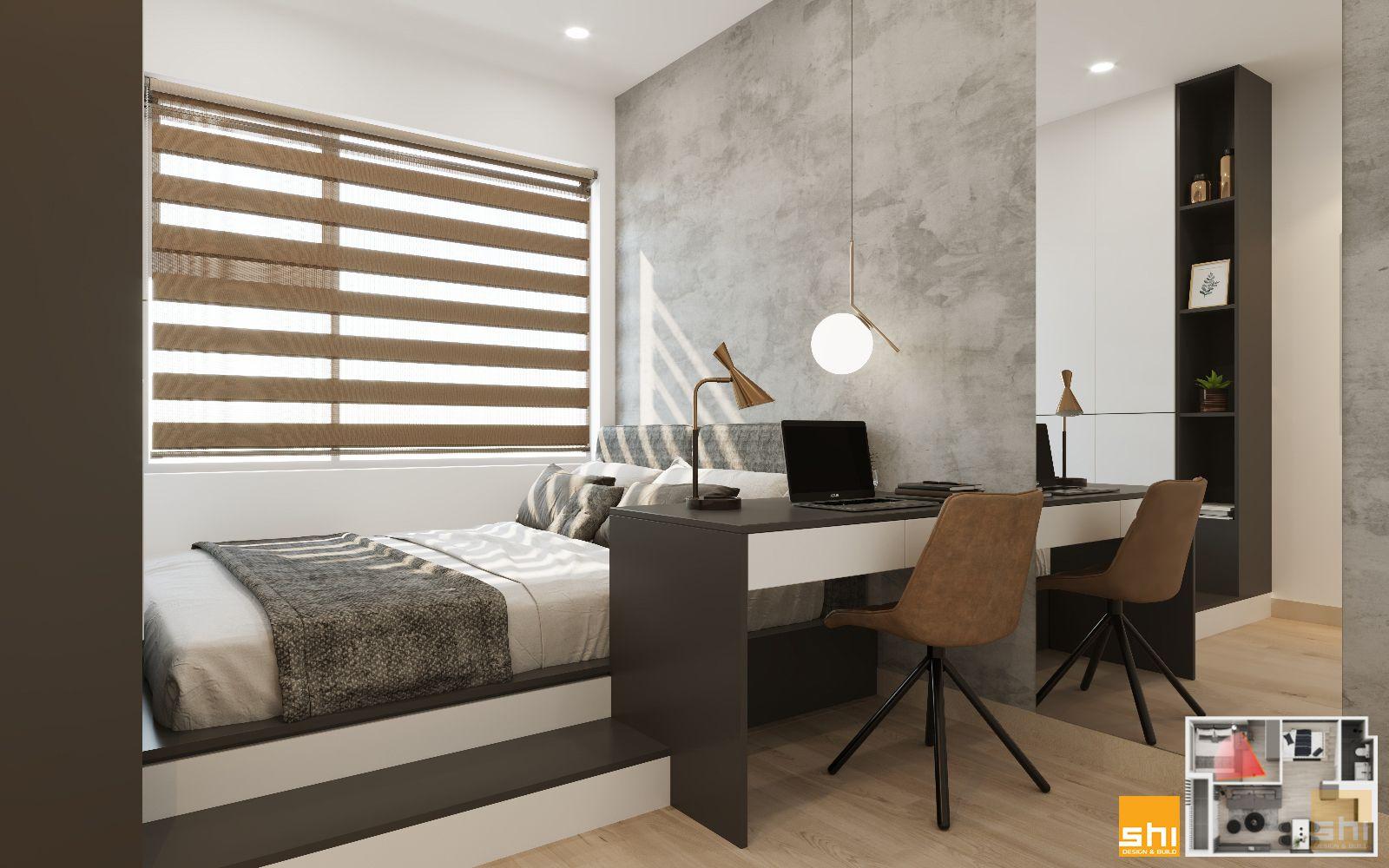 thiết kế nội thất căn hộ 1 phòng ngủ