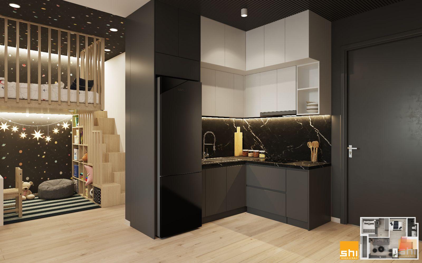 thiết kế nội thất căn hộ 1 phòng ngủ - 02
