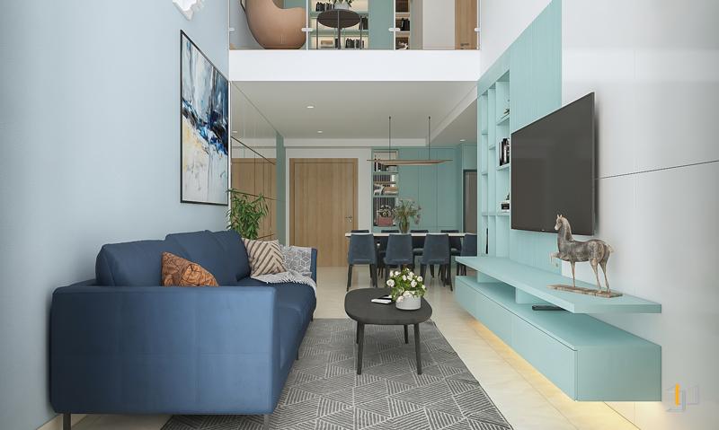Các vật dụng nội thất phòng khách được bố trí theo cấu trúc không gian