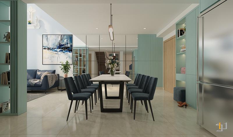 Màu sắc bàn ăn hài hòa với không gian nội thất chung