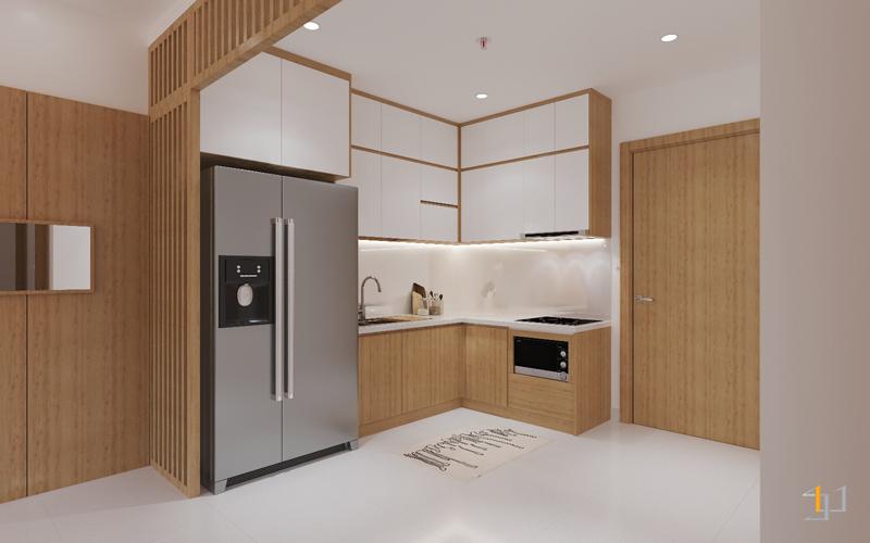 Thiết kế tủ bếp đẹp hình chữ L tiện lợi