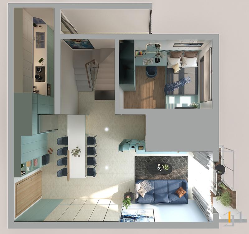 Mặt bằng thiết kế nội thất tầng trệt căn hộ Duplex