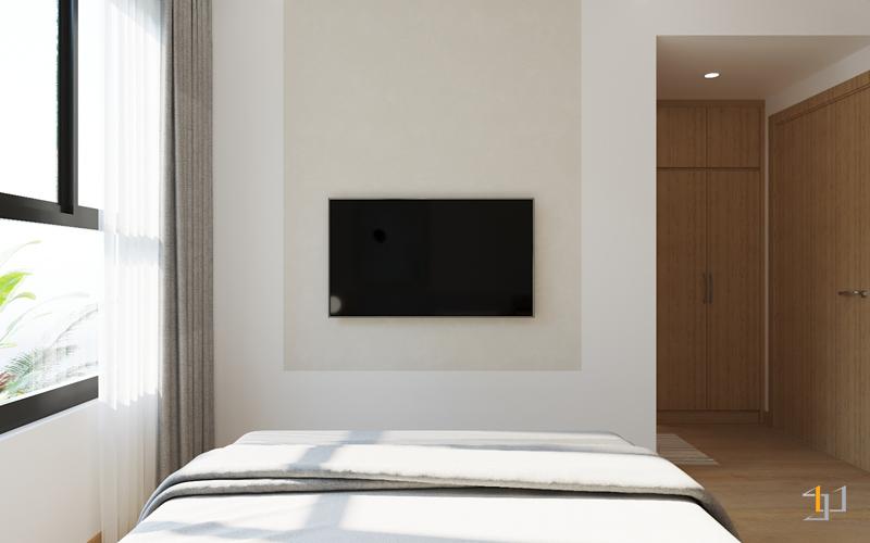 Bản vẽ 3D thiết kế nội thất vách Tivi phòng ngủ bố mẹ