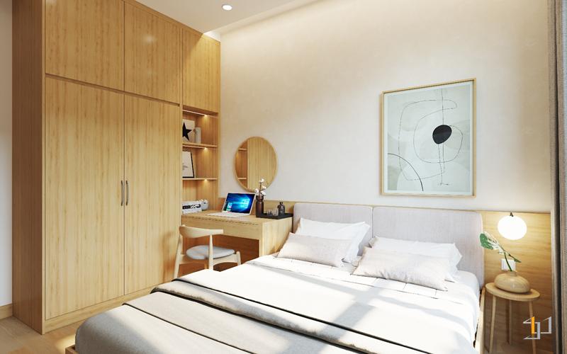 Bản vẽ 3D thiết kế nội thất giường ngủ, tủ quần áo và bàn trang điểm phòng ngủ bố mẹ