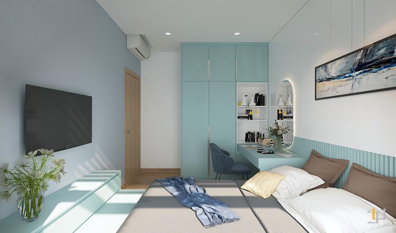Thiết kế giường ngủ kết hợp kệ ti vi thông minh