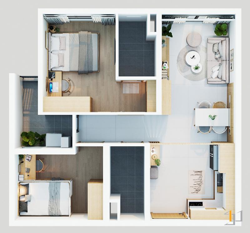Mặt bằng tổng quan thiết kế nội tất căn hộ Celadon City