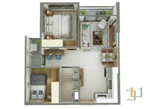 thiết kế nội thất chung cư 55m2 - 01