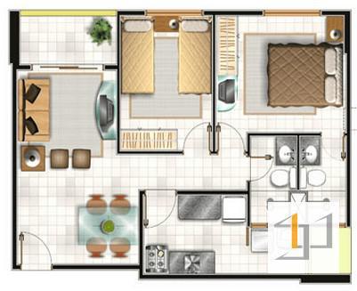 thiết kế nội thất chung cư 55m2 - 03