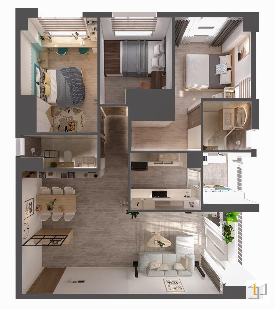 thiết kế nội thất chung cư đơn giản - 05