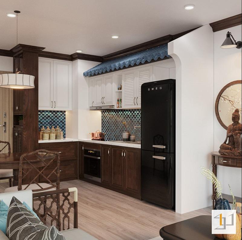 Thiết kế tủ bếp phong cách Indochine đẹp
