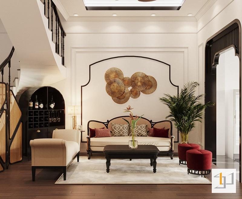 Phòng khách phong cách Indochine hiện đại
