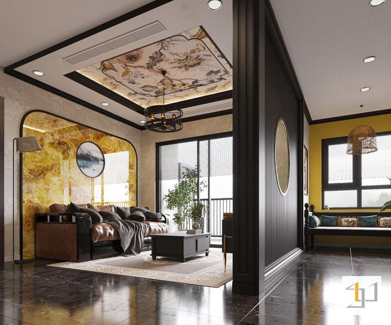 Phòng khách phong cách Đông Dương