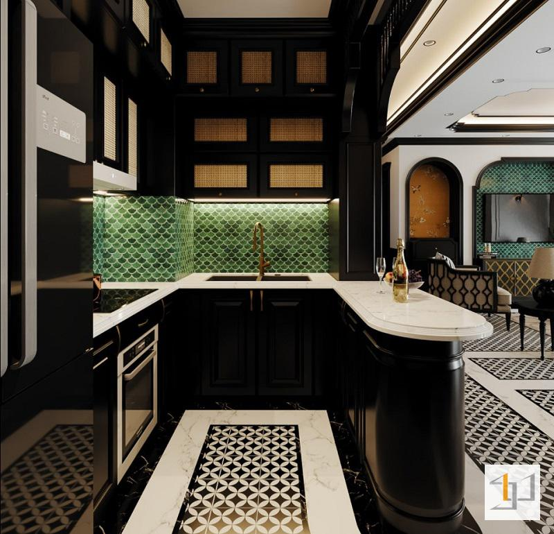 Tủ bếp hình chữ U phong cách Đông Dương
