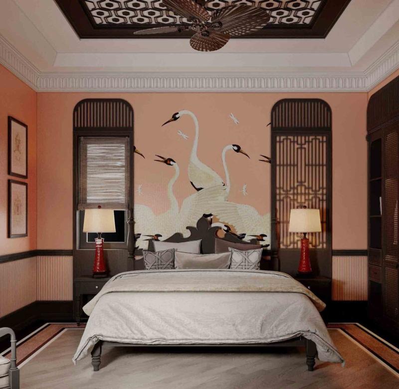 Trang trí nội thất phòng ngủ phong cách Đông Dương