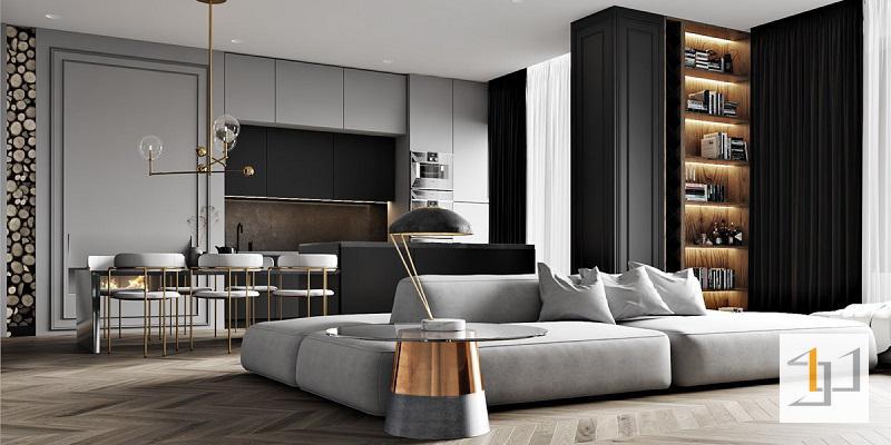 Nội thất phòng khách màu trung tính sang trọng