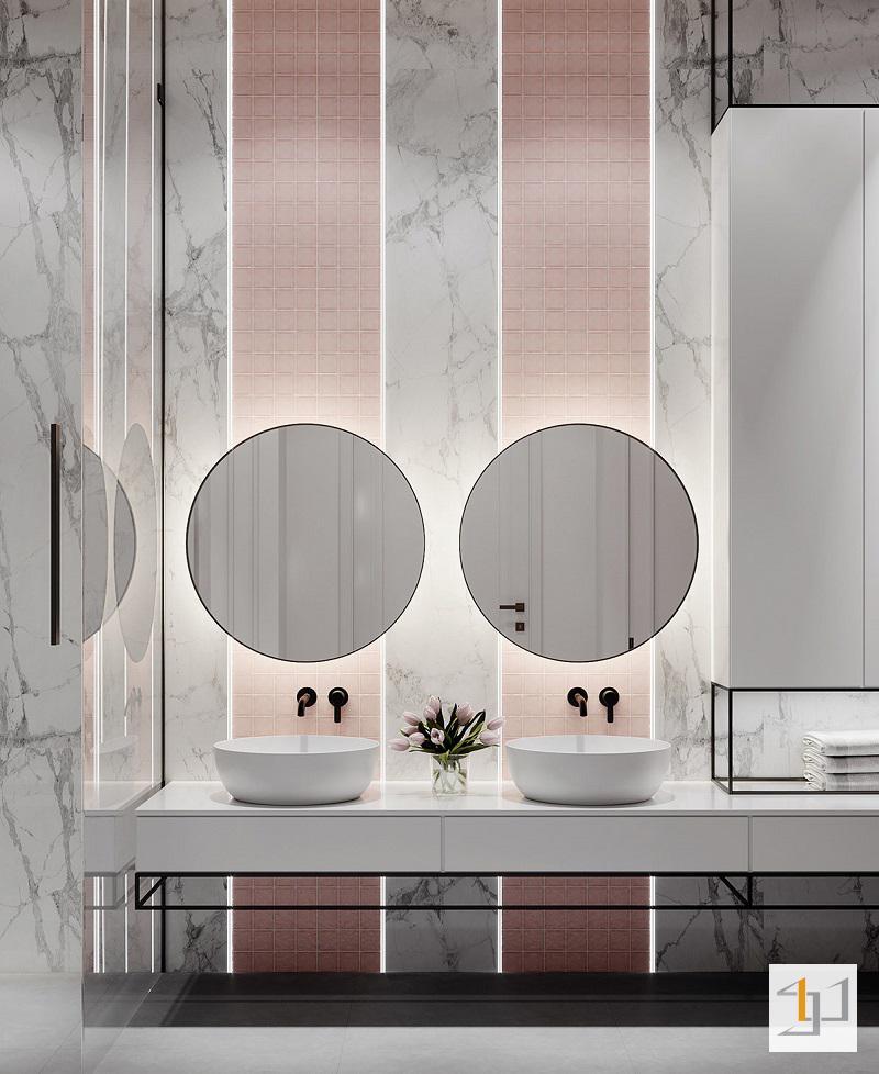 Phòng tắm tông hồng nhẹ nhàng