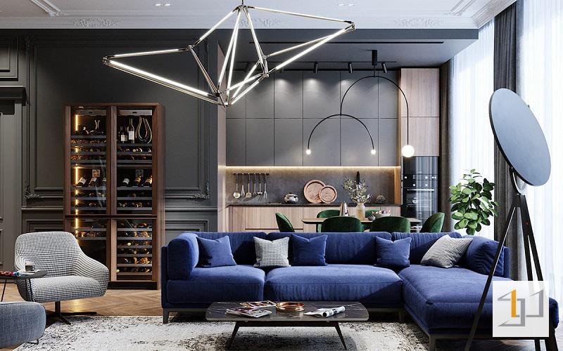 Không gian nội thất màu xanh dương