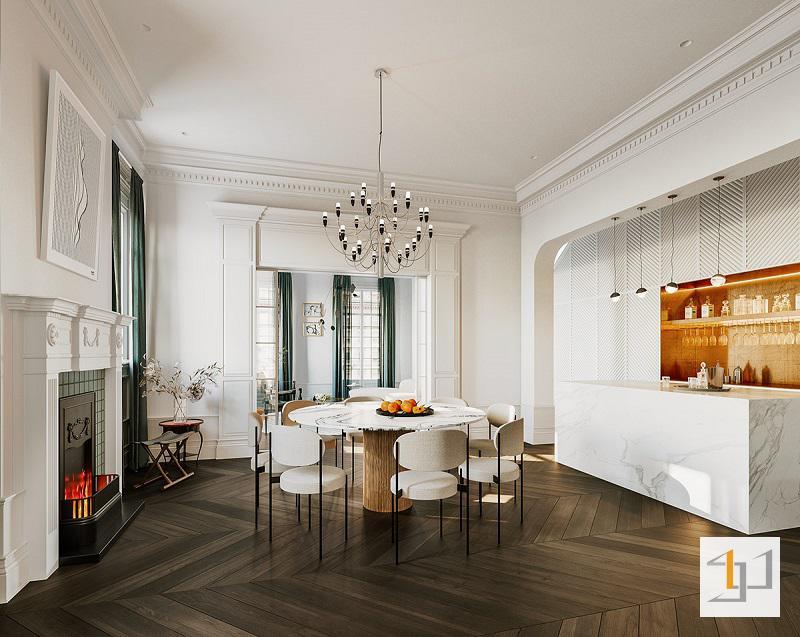 Khu bếp và bàn ăn được sắp xếp cùng một không gian