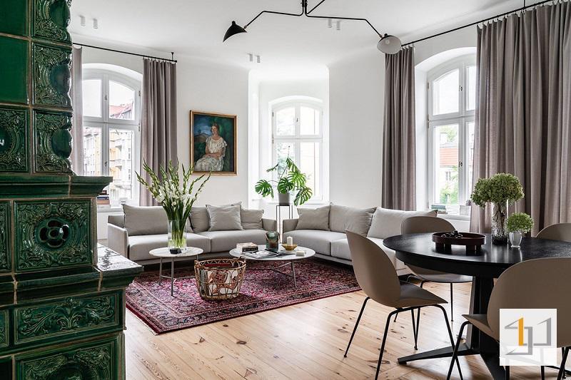 Thiết kế nội thất tân cổ điển xanh