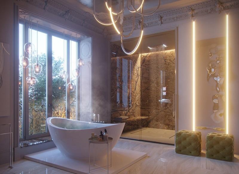Hệ thống ánh sáng trong tắm đẹp cho biệt thự